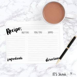 recipe card in brush font